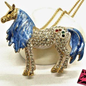"""Jewelry - 3D Magestic 3"""" Crystal Rainbow Unicorn Necklace"""